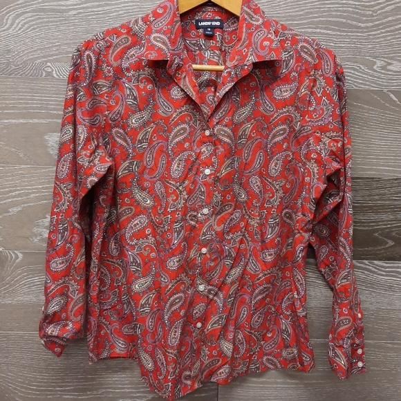 Land's End no iron supima Red kercheif shirt
